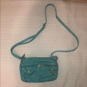 Roxy Turquoise leather purse w/adjustable …